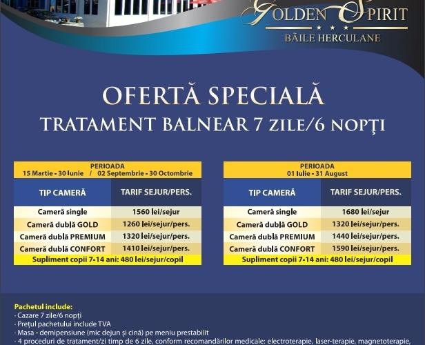 Oferta Speciala Tratament balneat 7zile/6 nopti