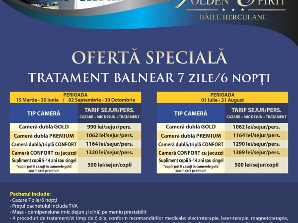 Special offer Spa treatment 7 days / 6 nights